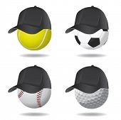 sport ball with hat (soccer, tennis, golf and baseball)
