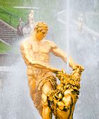 foto of samson  - golden statue of Samson in lower park of Peterhof - JPG