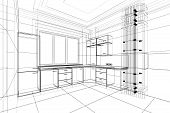 pic of interior sketch  - abstract sketch design of interior kitchen in wire frame - JPG