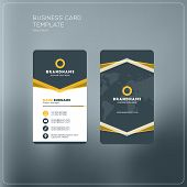 Vertical Business Card Print Template. Personal Business Card With Company Logo. Black And Yellow Co poster