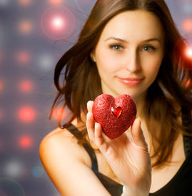picture of valentine heart  - Beautiful Girl with Valentine Heart - JPG