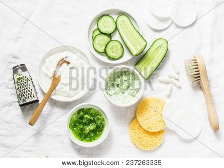 poster of Calming Cucumber Yogurt Mask. Ingredients For Homemade Cucumber Face Mask-cucumber, Natural Yogurt,