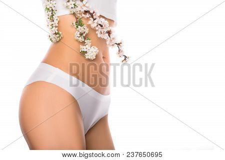 poster of Perfect Female Body With Flower, Isolated On A White Background, Part Of The Body - Stomach And Thig