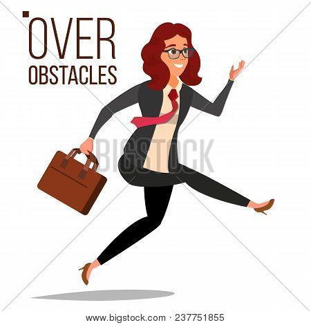 poster of Business Woman Jumping Over Obstacles Vector. Leader. Competing Race. Overcoming Obstacles, Achievin