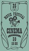 Vector Cinema Movie Festival Poster With Old Fashioned Movie Camera In Retro Style. Can Used For Ban poster