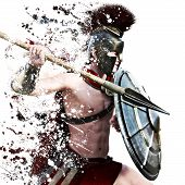 Spartan Attack,illustration Of A Spartan Warrior In Battle Dress Attacking On A White Background Wit poster