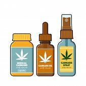 Set Of Spray, Tincture, Pills Of Medical Cannabis With Marijuana Logo On The Label, Flat Vector Illu poster