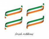 Set Of Four Modern Colored Vector Ribbons With Irish Tricolor Isolated On White Background, Flag Of  poster