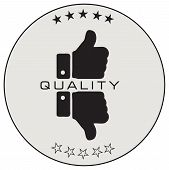 Round Label Of Quality Assessment. A Symbol Of Good And Bad Quality poster