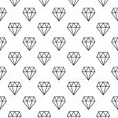 Diamonds Vector Minimal Seamless Pattern Or Background Made With White Diamond Icons In Thin Line St poster