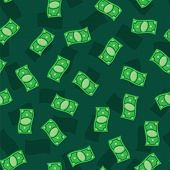 Money Banknotes On Green Background. Seamless Pattern Green Money Bills. Green Money Pattern poster