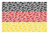 German Flag Collage Made Of Ufo Elements. Vector Ufo Items Are United Into Geometric German Flag Col poster