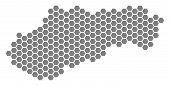 Grey Hexagon Slovakia Map. Vector Geographical Map In Gray Color On A White Background. Vector Patte poster