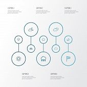 Climate Icons Line Style Set With Arc, Moonshine, Rainfall And Other Windsock Elements. Isolated Vec poster