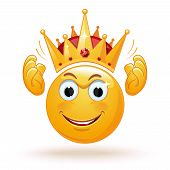 King Emoticon Wears A Crown. Smiley King. Positive Smiling Ball In The Crown. King Expression. King  poster