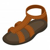 Summer Sandal Icon. Isometric Illustration Of Summer Sandal Vector Icon For Web poster
