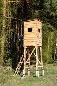 Wooden Construction Set At The Edge Of The Forest. A New Hunting Pulpit For Wild Game Hunters. poster