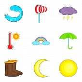 Moderate Climate Icons Set. Cartoon Set Of 9 Moderate Climate Vector Icons For Web Isolated On White poster