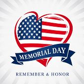 Memorial Day Remember & Honor, Heart And Flag Light Beams Banner. Happy Memorial Day Vector Backgrou poster