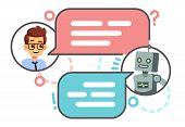 Human Conversation With Robot On Smartphone. Chatting With Bot, Chatbot Vector Concept. Robot Chat A poster