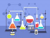 Chemistry Laboratory Experiment. Research Lab Science Technology. Chemical Laboratory Vector Flat Co poster