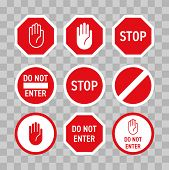 Stop Road Sign With Hand Gesture. Vector Red Do Not Enter Traffic Sign. Caution Ban Symbol Direction poster