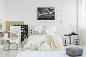White Pillows On Bed poster