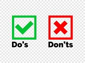 Do And Dont Check Tick Mark And Red Cross Icons Isolated On Transparent Background. Vector Dos And  poster