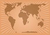 Retro World Map. World Map In Grunge Style. World Map Consisting Of Horizontal Stripes On A Vintage  poster