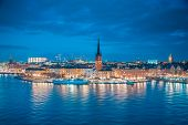 Panoramic View Of Famous Stockholm City Center With Historic Riddarholmen In Gamla Stan Old Town Dis poster