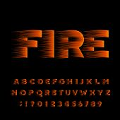 Fire Alphabet Font. Flame Effect Bold Type Letters And Numbers. Stock Vector Typeset. poster