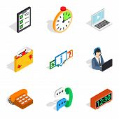 Server Setting Icons Set. Isometric Set Of 9 Server Setting Vector Icons For Web Isolated On White B poster
