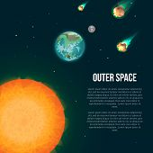 Outer Space Poster With Earth, Moon, Sun And Asteroids In Universe. Astronomical Scientific Space Re poster