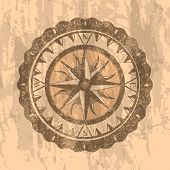 Grunge Gray Background With Compass Rose. Geography Research, Worldwide Traveling And Exploration. N poster
