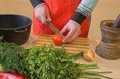 Male Hands Cutting Vegetables On Kitchen Blackboard. Healthy Food. Man Preparing Vegetables, Cooking poster