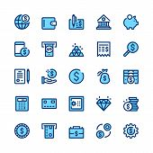 Banking, Money, Finance Line Icons Set. Modern Graphic Design Concepts, Simple Symbols, Elements, Pi poster