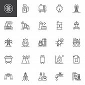 Oil Industry Outline Icons Set. Linear Style Symbols Collection, Line Signs Pack. Vector Graphics. S poster