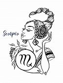 The Scorpio Astrological Sign As A Beautiful Girl. Horoscope. Astrology. Coloring. Vector poster