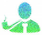 Halftone Dot Smoking Detective Pictogram. Pictogram In Green And Blue Color Hues On A White Backgrou poster
