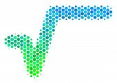 Halftone Dot Sqrt Pictogram. Pictogram In Green And Blue Color Tones On A White Background. Vector M poster