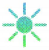 Halftone Circle Sun Pictogram. Pictogram In Green And Blue Color Tones On A White Background. Vector poster