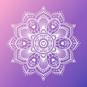 Round White Mandala On Dreamy Gradient Background. Vector Hipster Design In Violet And Pink Colors.  poster