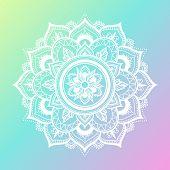 Round Gradient Mandala On Gradient Background. Vector Boho Mandala In Green And Pink Colors. Mandala poster