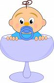 pic of nipple rings  - Baby boy with nipple in blue glass  - JPG