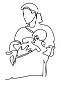 A Mother With A Baby. Family, Motherhood And Lifestyle Concept. Continuous Line Drawing. Isolated On poster