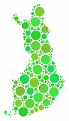 Finland Map Collage Of Scattered Circle Elements In Different Sizes And Ecological Green Color Hues. poster