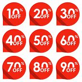 Sale Tag Set. 10,20,30,40,50,60,70,80,90 Percent Off. Price Off And Discount Tag Design Elements. Ve poster