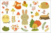 Autumn Forest Elements Set, Forest Animals, Leaves, Flowers, Mushrooms Cartoon Vector Illustrations  poster
