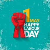 1 May Happy Labour Day Vector Label With Strong Red Fist On Torquise Background . Labor Day Backgrou poster