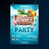 Vector Summer Beach Party Flyer Design With Typographic Elements On Wood Texture Background. Summer  poster
